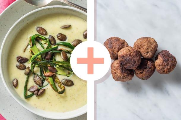 Soupe de courgettes et boulettes de viande en extra