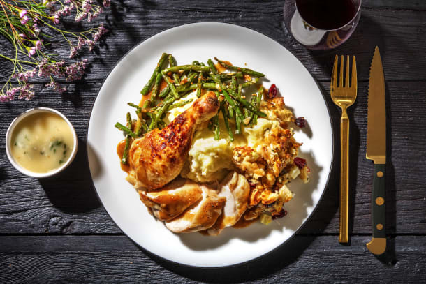 Crispy Skinned Chicken and Stuffing