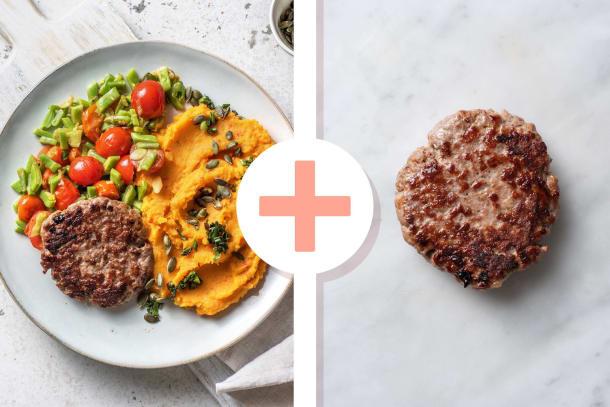 Snelle gerechten - Duitse biefstuk met pittige puree van zoete aardappel