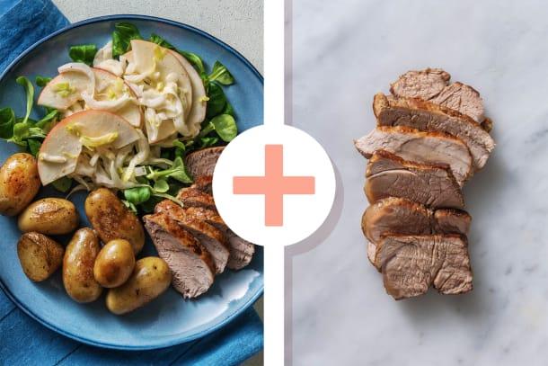 Snelle gerechten - Varkenshaas met witlof-appel salade en krieltjes