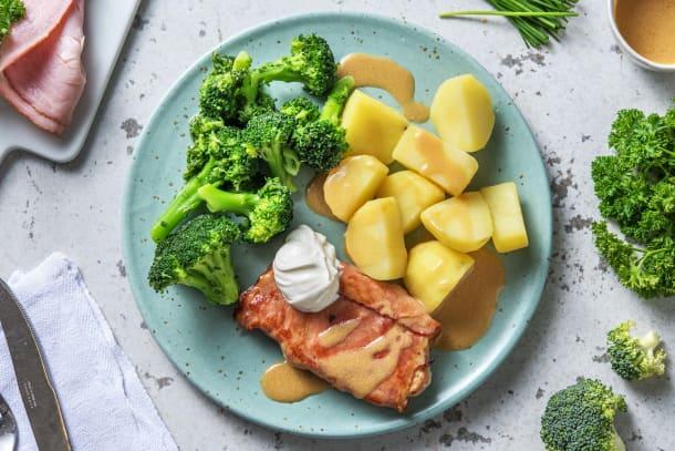 Filet de porc aux brocolis et beurre aux herbes