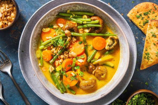 Schnelle Gerichte - Veganes gelbes Curry mit Ofengemüse