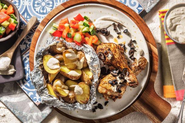Pilons de poulet marinés et pommes de terre rôties