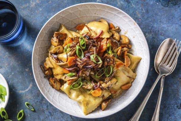 Schnelle Gerichte - Gemüse-Maultaschen-Pilzpfanne