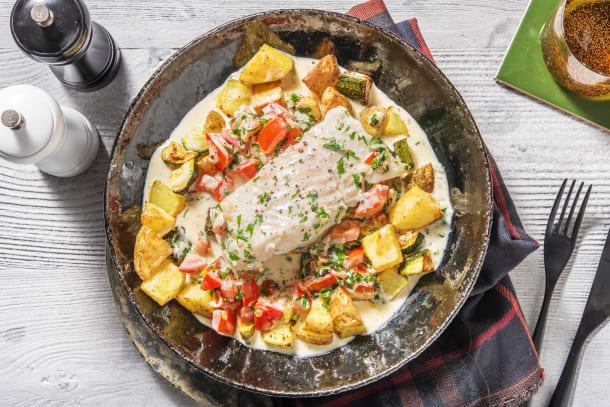 Kalorisnåla måltider - Gråsej i krämig tomatsås
