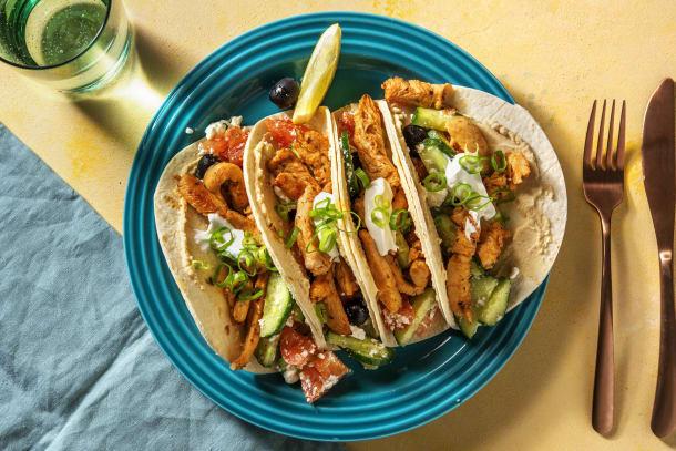 Schnelle Gerichte - Griechische Tacos mit Souvlaki-Hähnchen