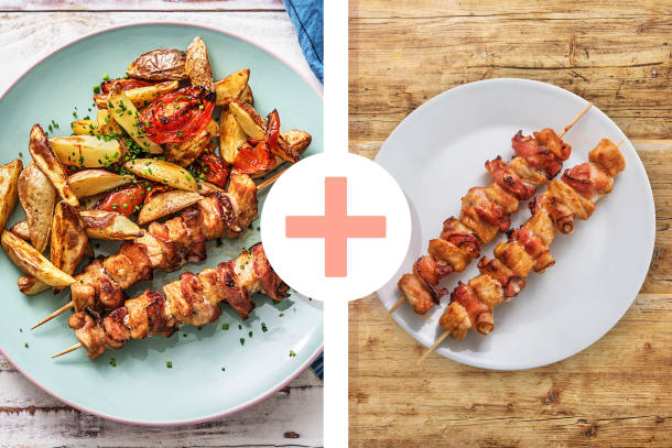Gyros-Spieße mit Bacon und Tzatziki