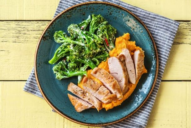 Gesunde Gerichte - Hähnchenbrust mit scharfem Brokkolini