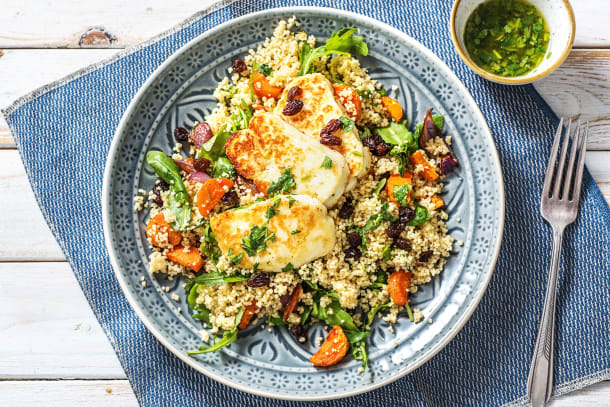 Vegetarian Recipes - Halloumi & Chermoula-spiced Couscous (v)