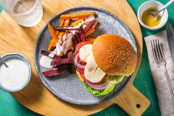 Thermomix Rezepte - Halloumi-Burger mit Karotten-Bete-Sticks