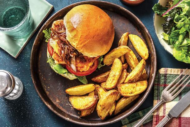 Mediterranean Haloumi, Pesto & Caramelised Onion Burger