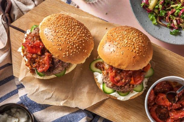 Lamb and DIY Tomato Jam Burger