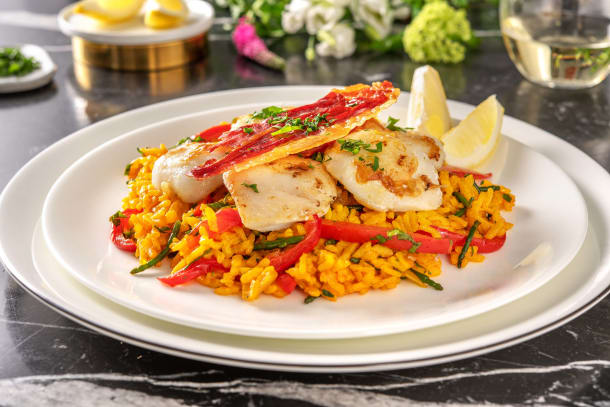 Low Calorie Meals - Lemony Monkfish with Samphire Paella