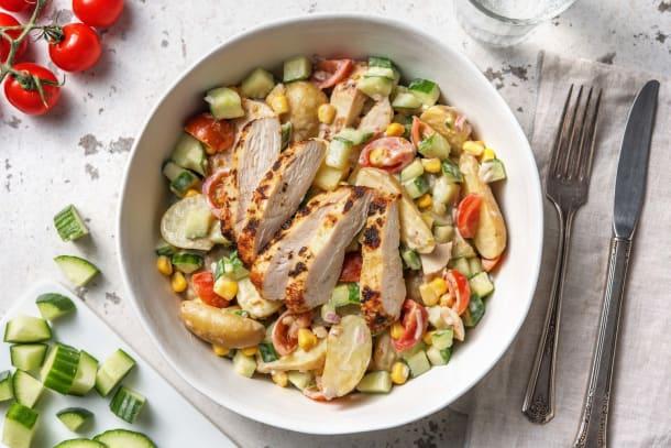 Snelle gerechten - Maaltijdsalade met Mediterrane kipfilet en krieltjes
