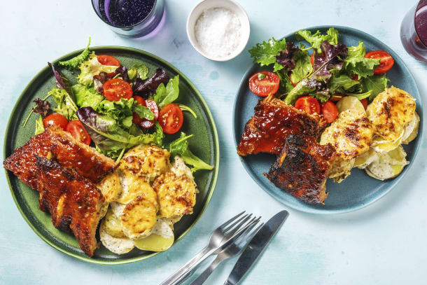 Maple Pork Ribs with Scalloped Potatoes