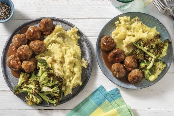 Meatballs and Bacon & Onion Gravy