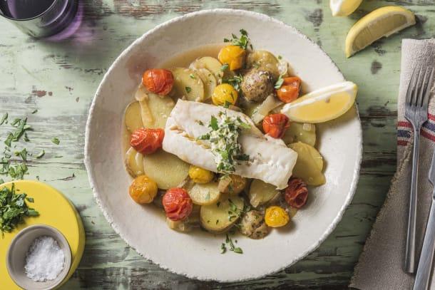Caloriearme recepten - Mediterraanse kabeljauw met gestoofde aardappelen
