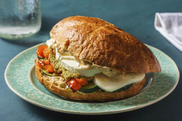 Gesunde Gerichte - Mediterranes Focaccia-Sandwich