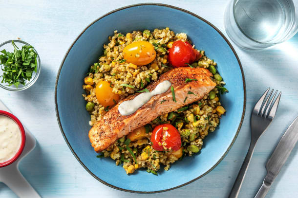 Quick Dinner Ideas - Middle Eastern-Spiced Salmon Freekeh Bowl