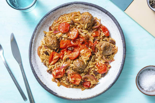 Middle Eastern Style Lamb Meatball Orzo