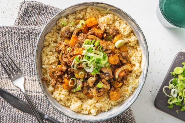 Low Calorie Meals - Miso Beef, Mushroom and Roasted Butternut Squash Stew