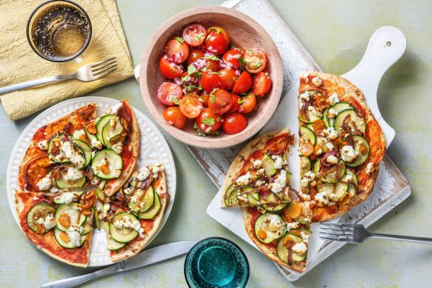 Snelle gerechten - Naanpizza met geitenkaas en groenten