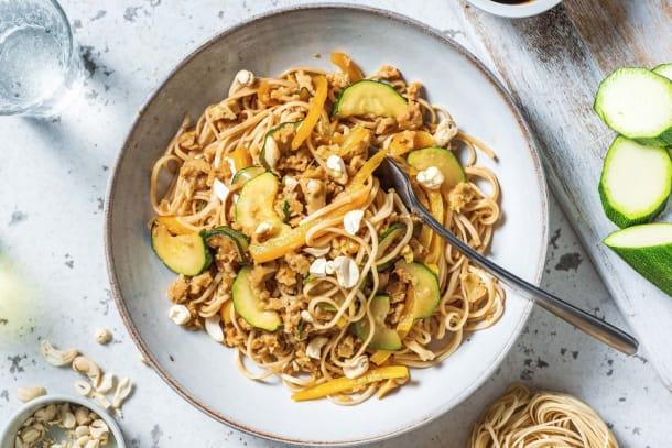 Snelle gerechten - Noedels met seitan en Aziatische saus