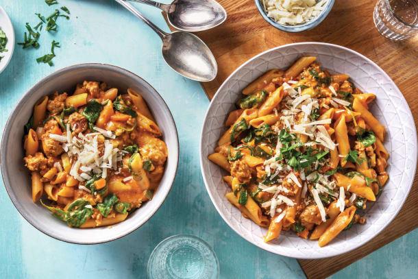 Family favourites - One-Pot Sausage & Red Pesto Pasta