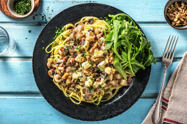 Pasta met blauwekaas-champignonsaus