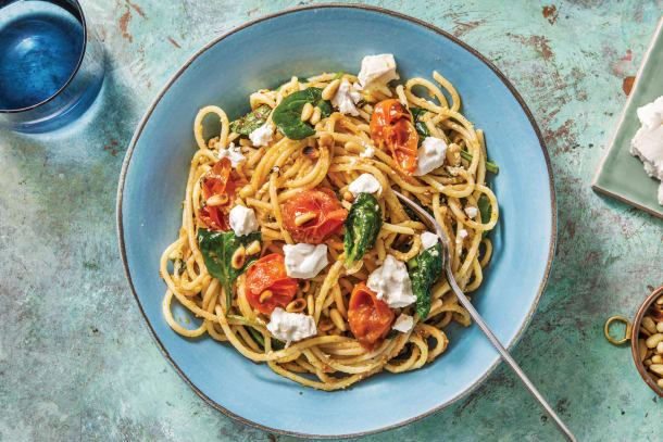 Red Pesto & Goat Cheese Spaghetti