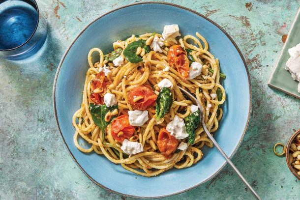 Quick Dinner Ideas - Basil Pesto & Goat Cheese Spaghetti