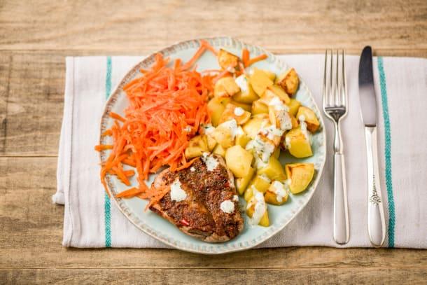 Piri Piri-Trutenschnitzel mit Kartoffelwürfeln