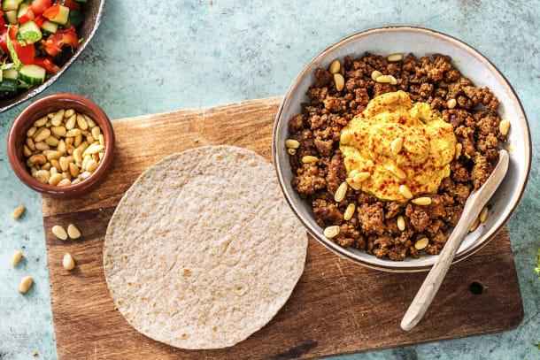 Tortillas au bœuf haché à l'orientale