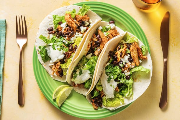 Quick Meals - Pulled Chicken, Feta & Black Bean Tacos