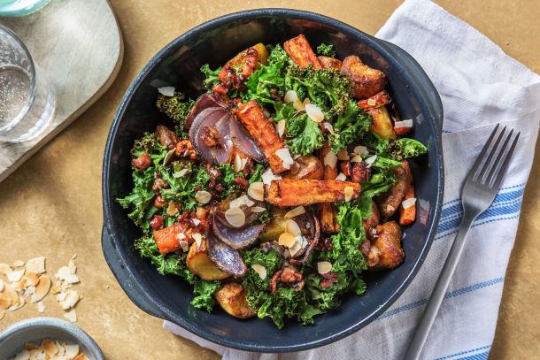 Low Calorie Meals - Roast Potato, Bacon and Crispy Kale Salad