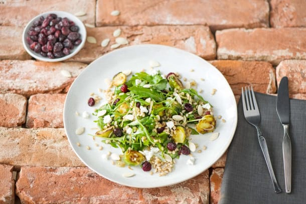Roasted Brussels Sprout and Barley Salad