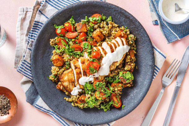 Roasted Shawarma Chicken and Squash Freekeh