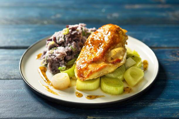 Rosemary Glazed Chicken with Purple Mash