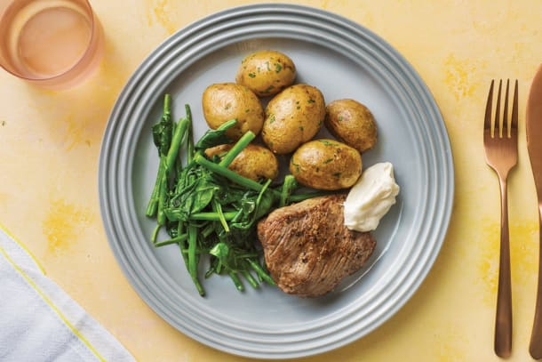 Quick Meals - Rump Steak with Chat Potatoes & Greens