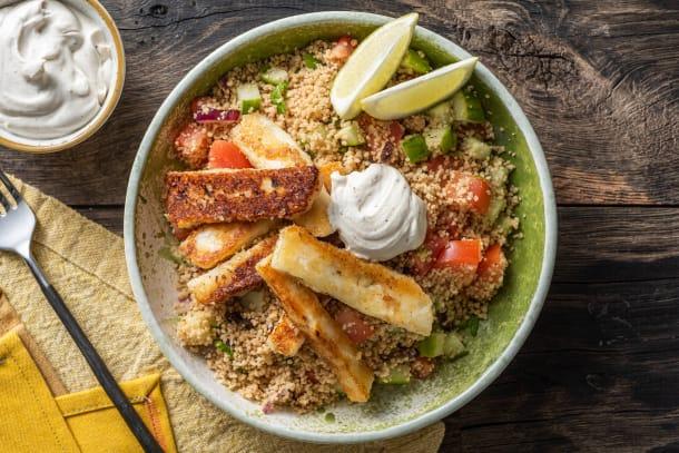 Salade de couscous et frites de halloumi