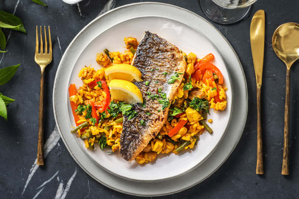 Sea Bass on Saffron Rice