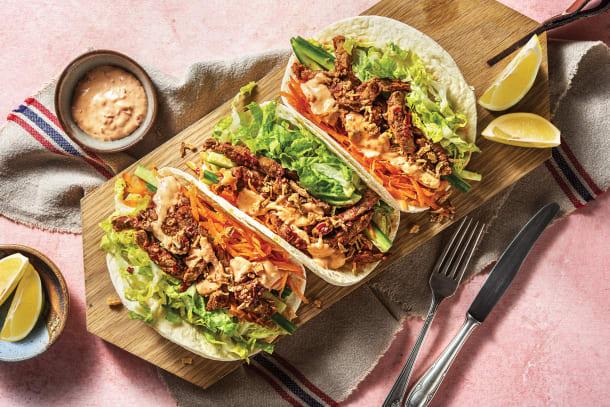 Quick Dinner Ideas - Sichuan Garlic Beef Tacos