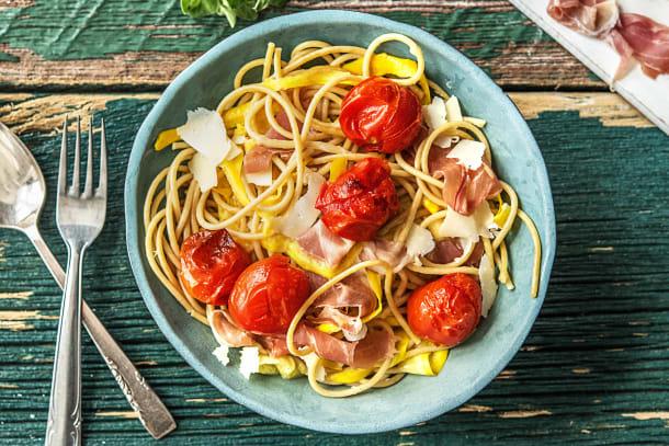 Spaghetti au jambon serrano et au poivron jaune