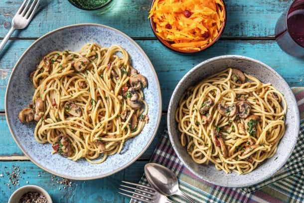 Spaghetti och svampsås