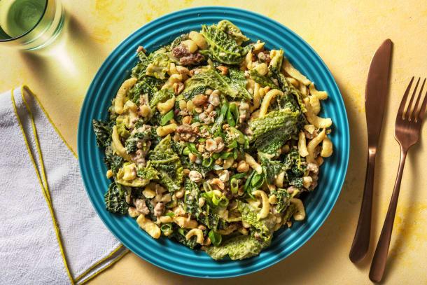 Schnelle Gerichte - Spätzle mit Wirsing und BBQ-Pfefferrahm