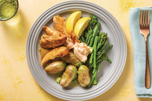 Quick Meals - Spiced Chicken Tenders, Chat Potatoes & Lemon Greens