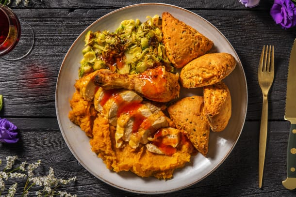 Spicy Crispy Skinned Chicken and Biscuits