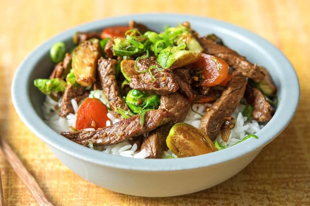 Steak and Brussels Sprouts Stir-Fry