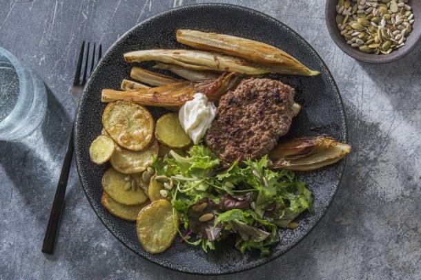 Steak haché et endives caramélisées