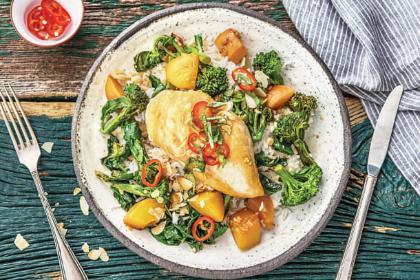 One-Pan Summer Peach Chicken & Greens